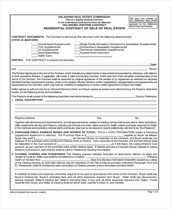 Simple Real Estate Contract Elegant 16 Sale Contract Template Pages Word