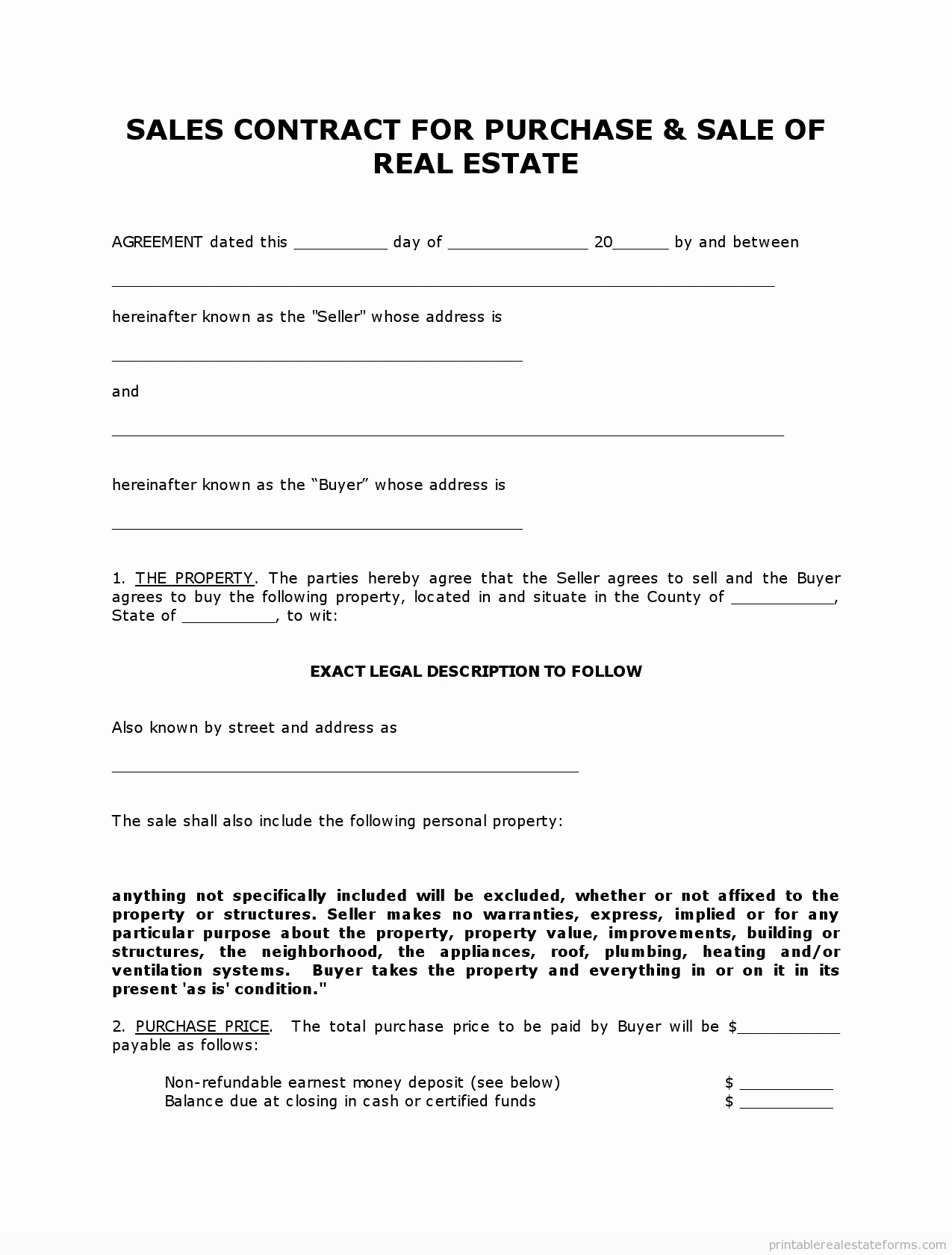 Simple Real Estate Contract Fresh Get High Quality Printable Simple Land Contract form