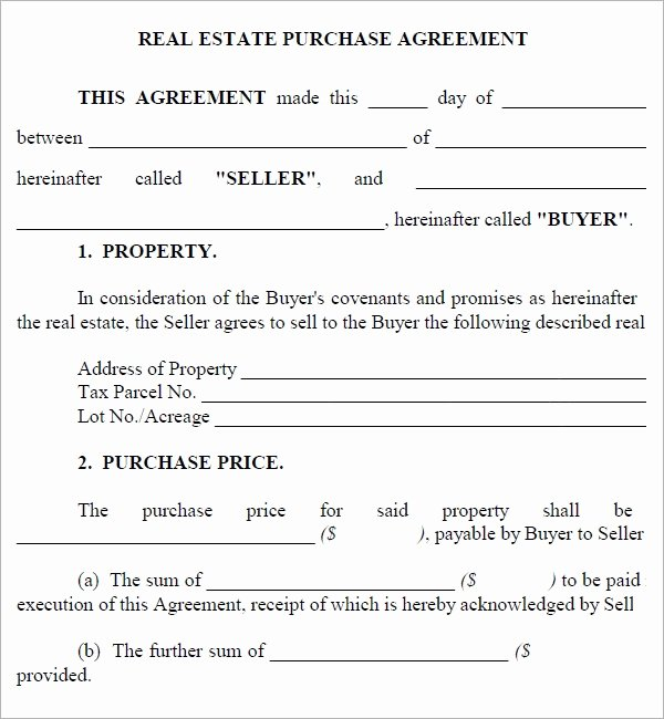 Simple Real Estate Contract Unique Real Estate Purchase Agreement 7 Free Pdf Download