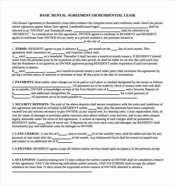 Simple Rental Agreement Pdf Best Of Sample Simple Rental Agreement 5 Documents In Pdf Word