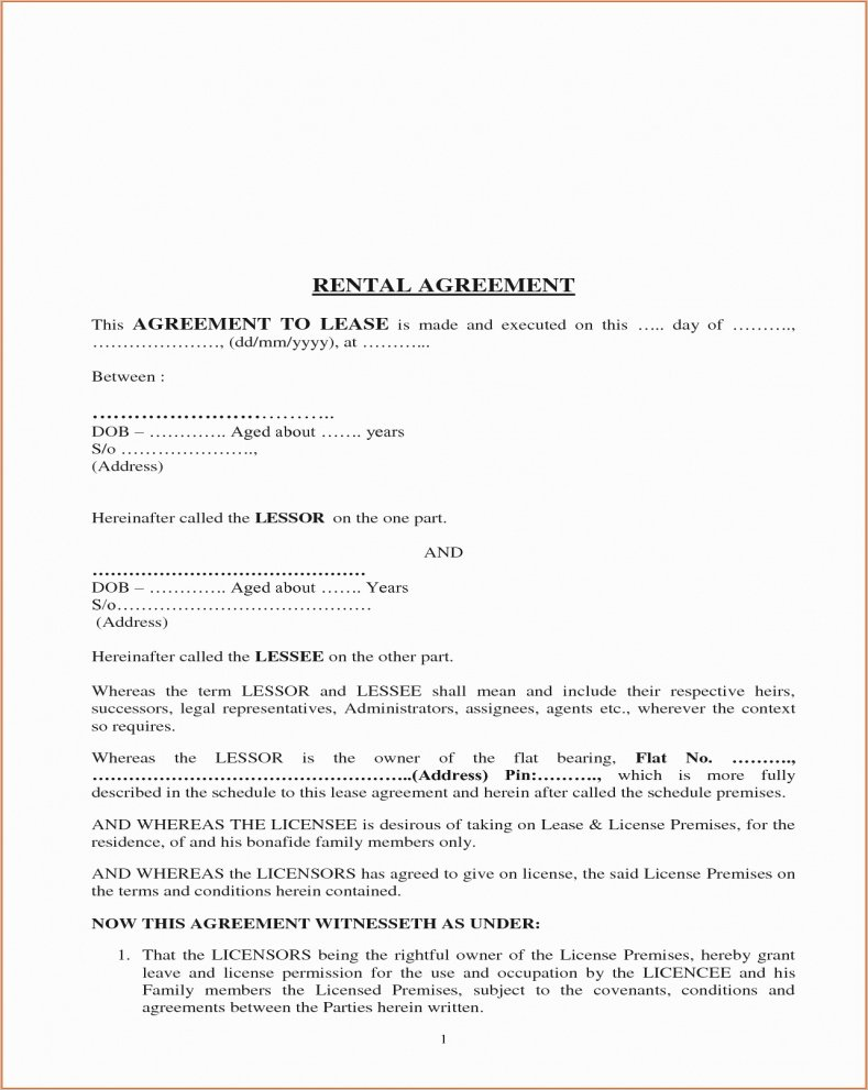 Simple Rental Agreement Pdf Elegant Rent Agreement format