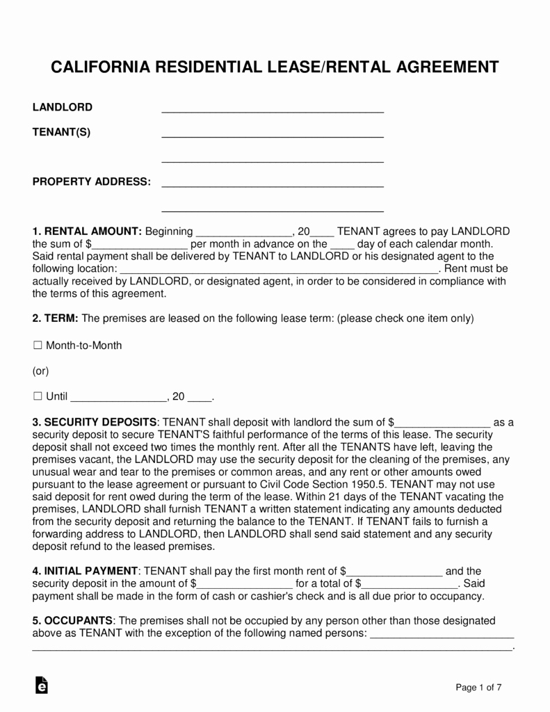 Simple Rental Agreement Pdf Fresh Free California Standard Residential Lease Agreement