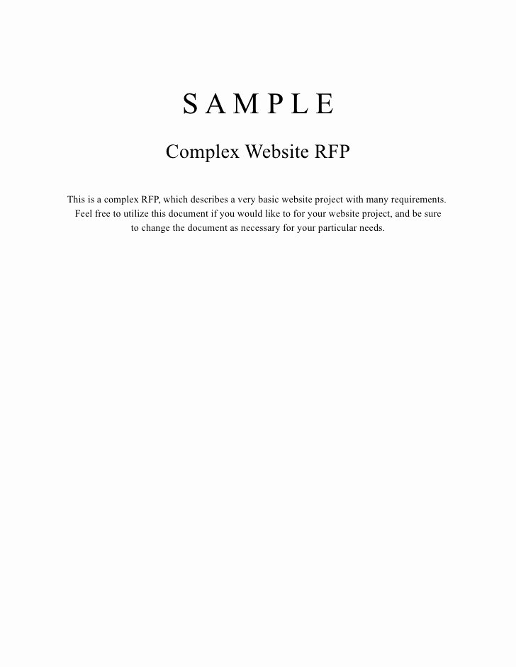 Simple Request for Proposal Example Elegant Plex Website Rfp Sample