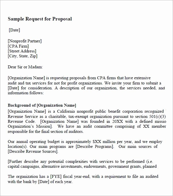 Simple Request for Proposal Example Fresh Request for Proposal Template 9 Download Free Documents