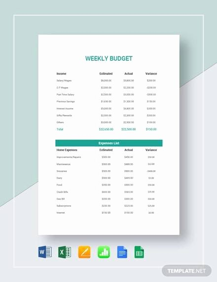 Simple Weekly Budget Template Lovely Free 10 Weekly Bud In Google Docs Google Sheets Ms