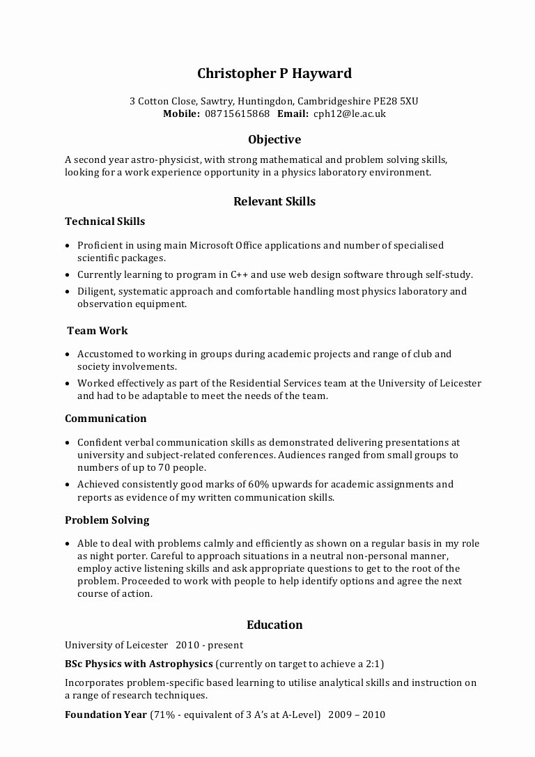 Skills Based Resume Template Free Unique Example Skills Based Cv