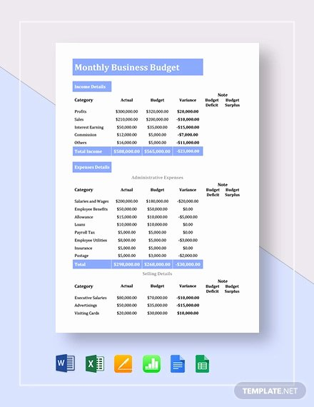 Small Business Budget Template Beautiful 13 Small Business Bud Templates Word Pdf Excel