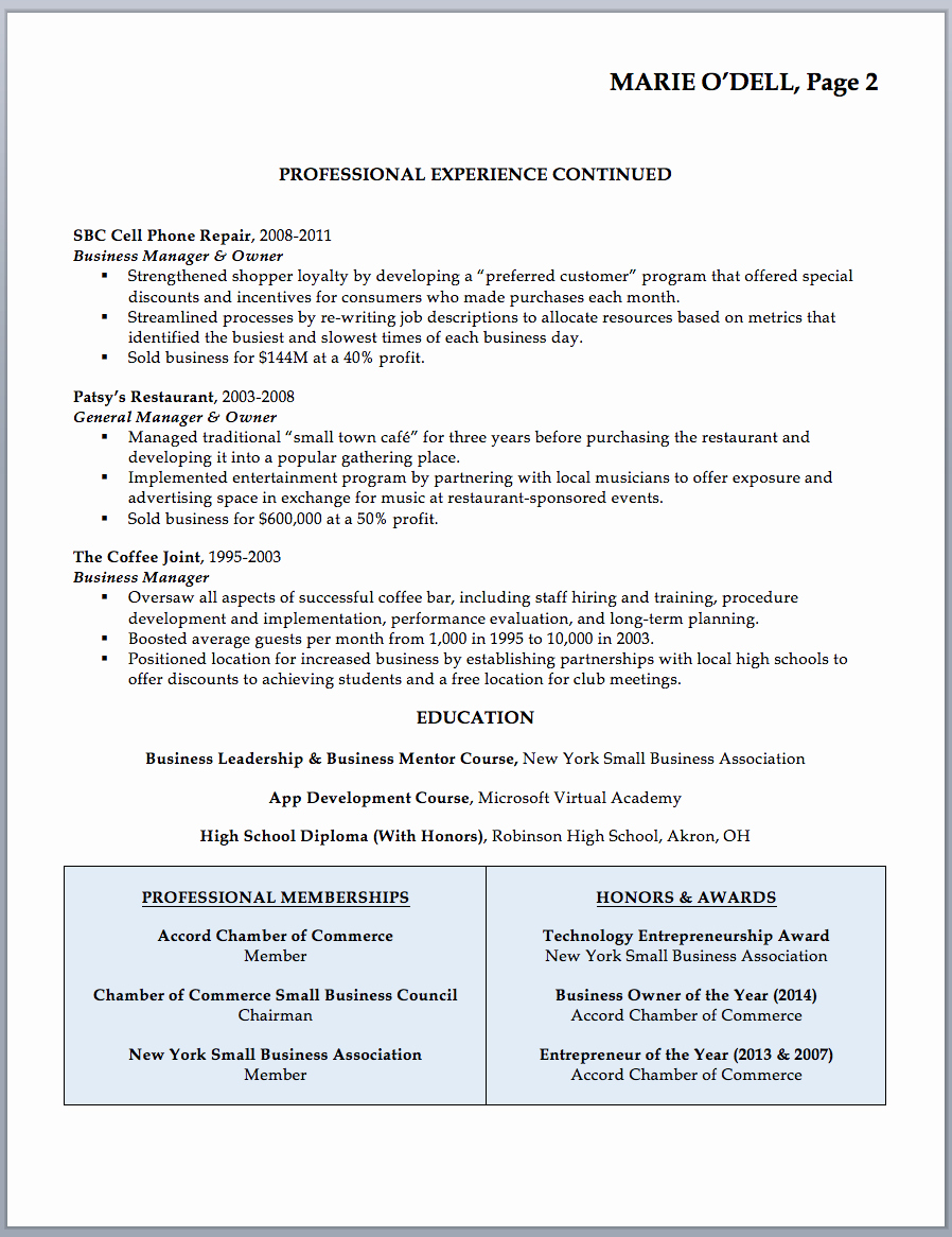 Small Business Owner Resume Inspirational Business Owner Resume Sample & Writing Guide