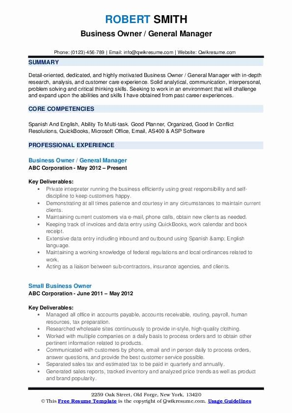 Small Business Owner Resume Luxury Business Development Resume Samples Examples and Tips