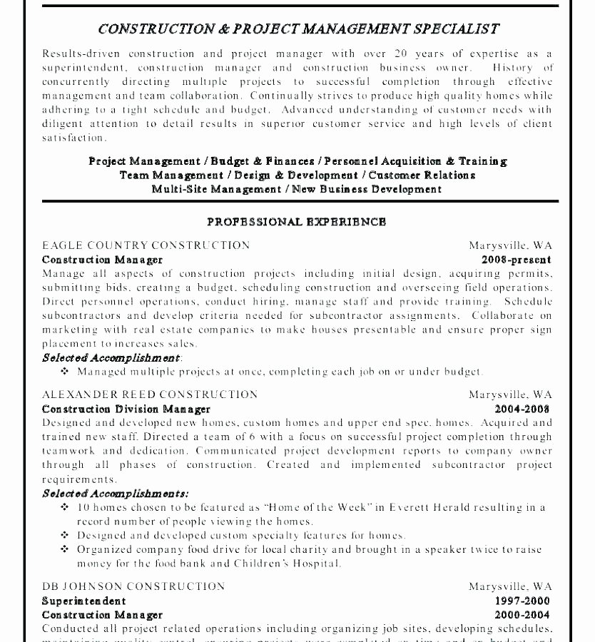 Small Business Owner Resume Unique 14 15 Construction Owner Resume
