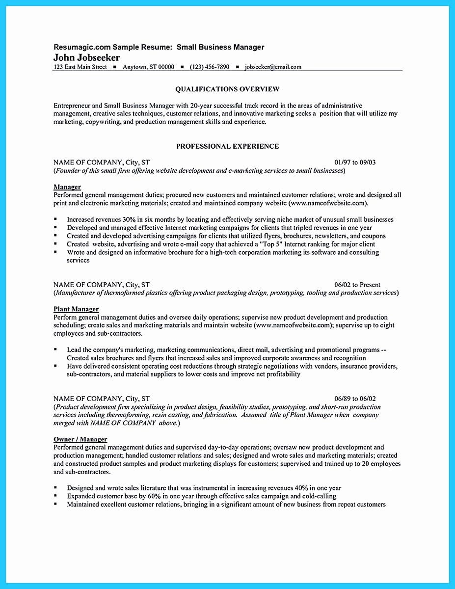 Small Business Owner Resume Unique Outstanding Keys to Make Most attractive Business Owner Resume