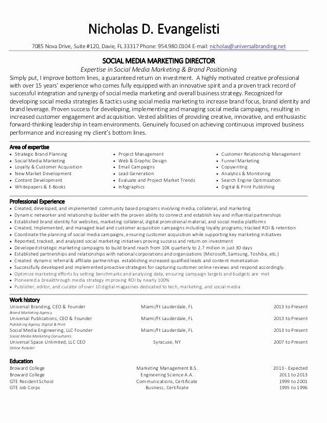 Social Media Manager Resumes Awesome Nicholas Evangelisti social Media Marketing Director Resume