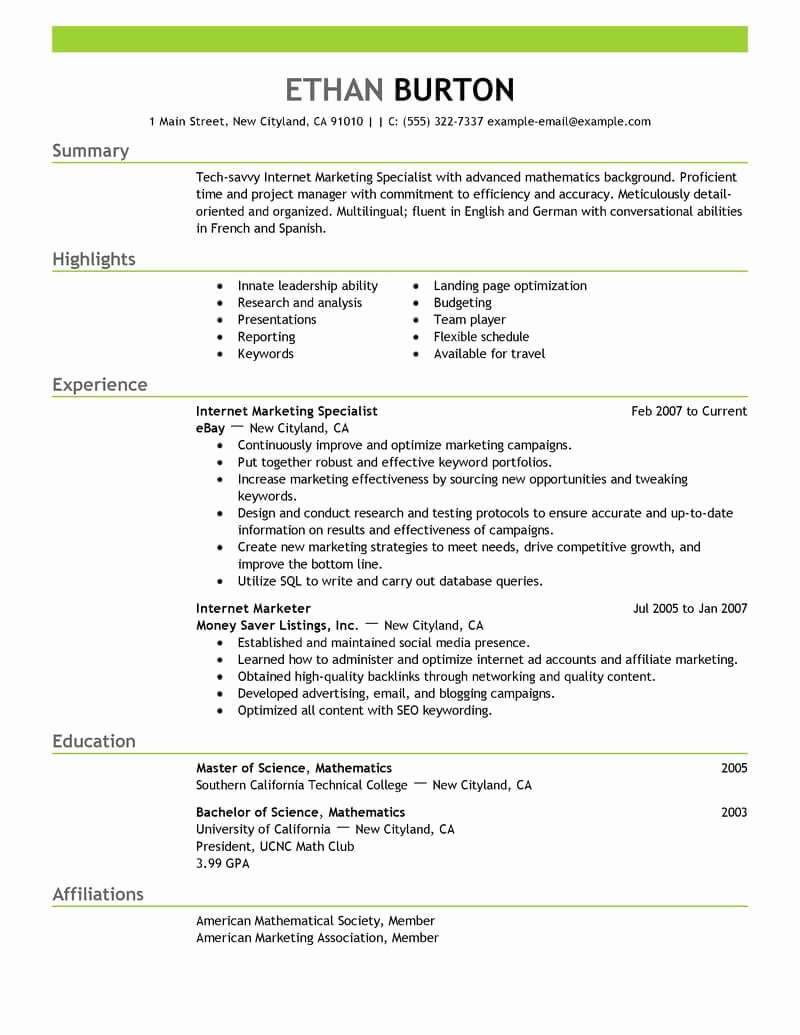 Social Media Manager Resumes Beautiful Best Line Marketer and social Media Resume Example