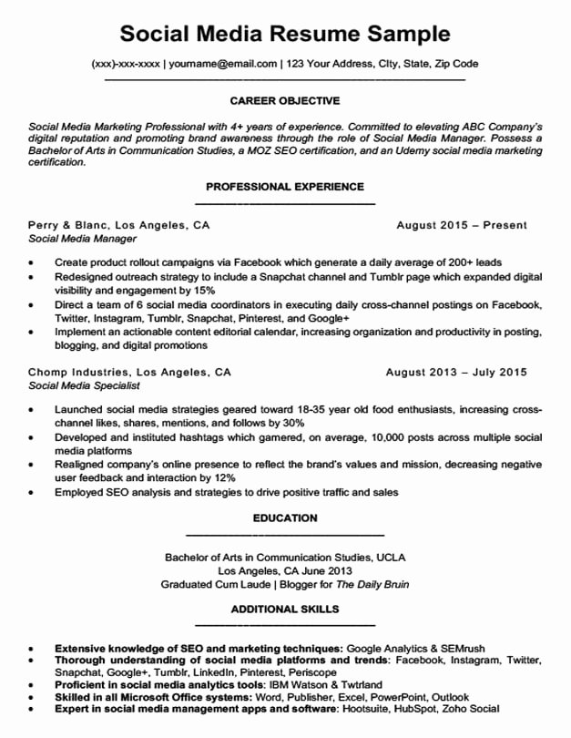 Social Media Manager Resumes Best Of social Media Resume Sample & Writing Tips