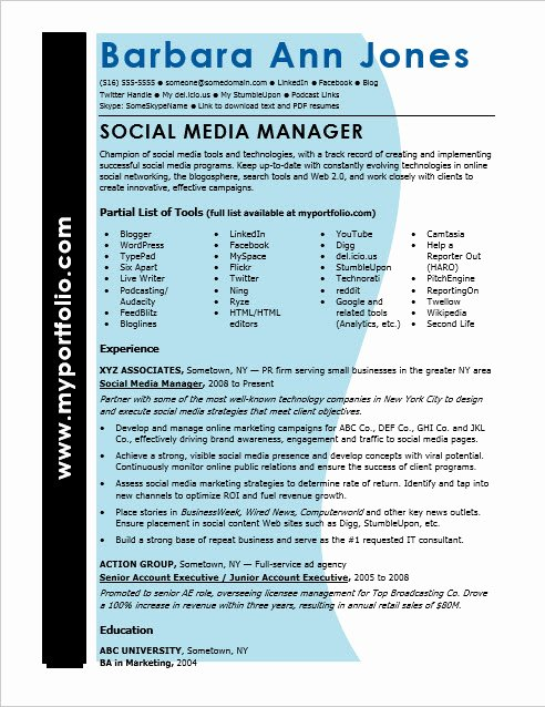 Social Media Manager Resumes Fresh social Media Resume Sample