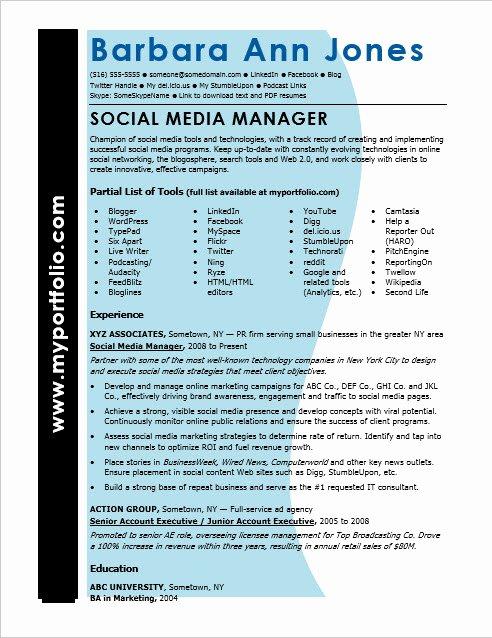 Social Media Manager Resumes Fresh social Media Resume Sample