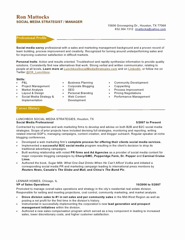 Social Media Manager Resumes Lovely social Media Marketing Resume Sample
