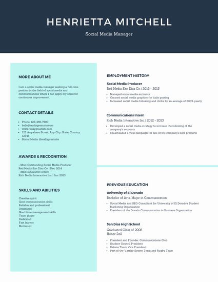 Social Media Manager Resumes Luxury Customize 602 Simple Resume Templates Online Canva