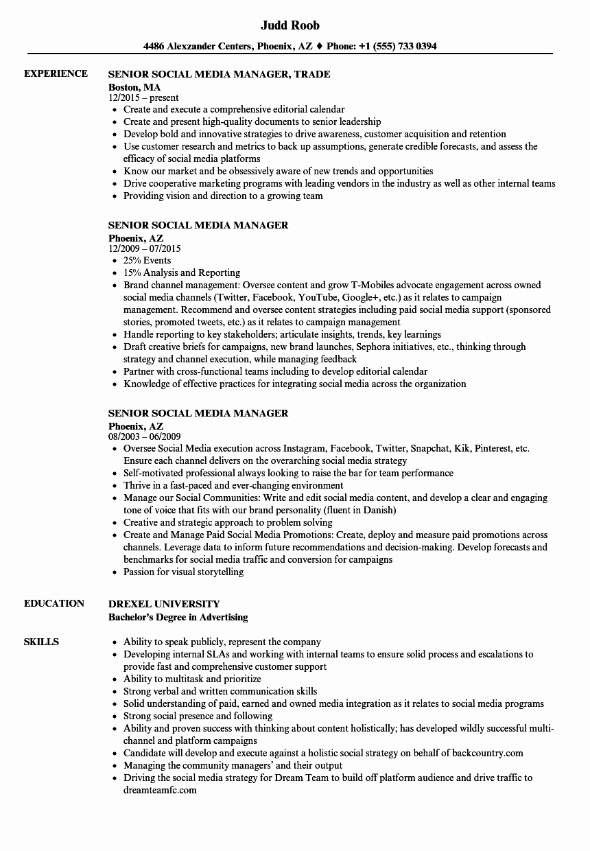 Social Media Manager Resumes Luxury Senior social Media Manager Resume Samples