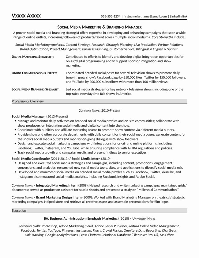 Social Media Manager Resumes Luxury social Media Marketing & Branding Manager Resume