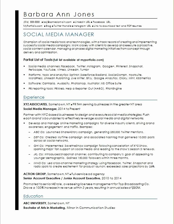 Social Media Manager Resumes Luxury social Media Resume Sample
