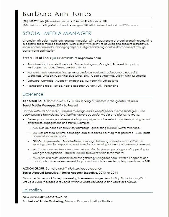 Social Media Manager Resumes Luxury social Media Resume Sample