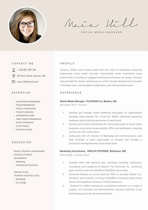 Social Media Manager Resumes New Showcase Resume Design Template