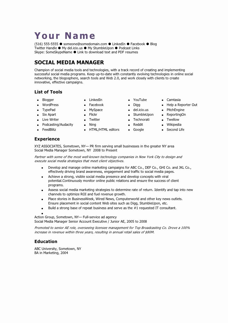 Social Media Manager Resumes New social Media Manager Cv Template