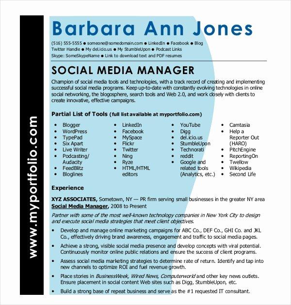Social Media Manager Resumes Unique 15 social Media Resumes Templates Pdf Doc