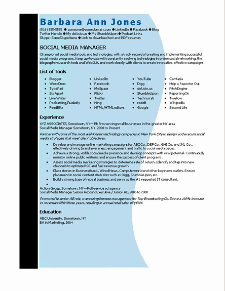 Social Media Manager Resumes Unique Microsoft Word social Media Manager Resume Template
