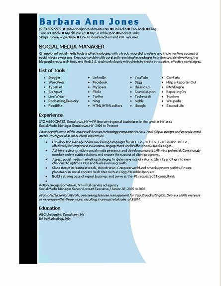 Social Media Manager Resumes Unique Microsoft Word social Media Manager Resume Template