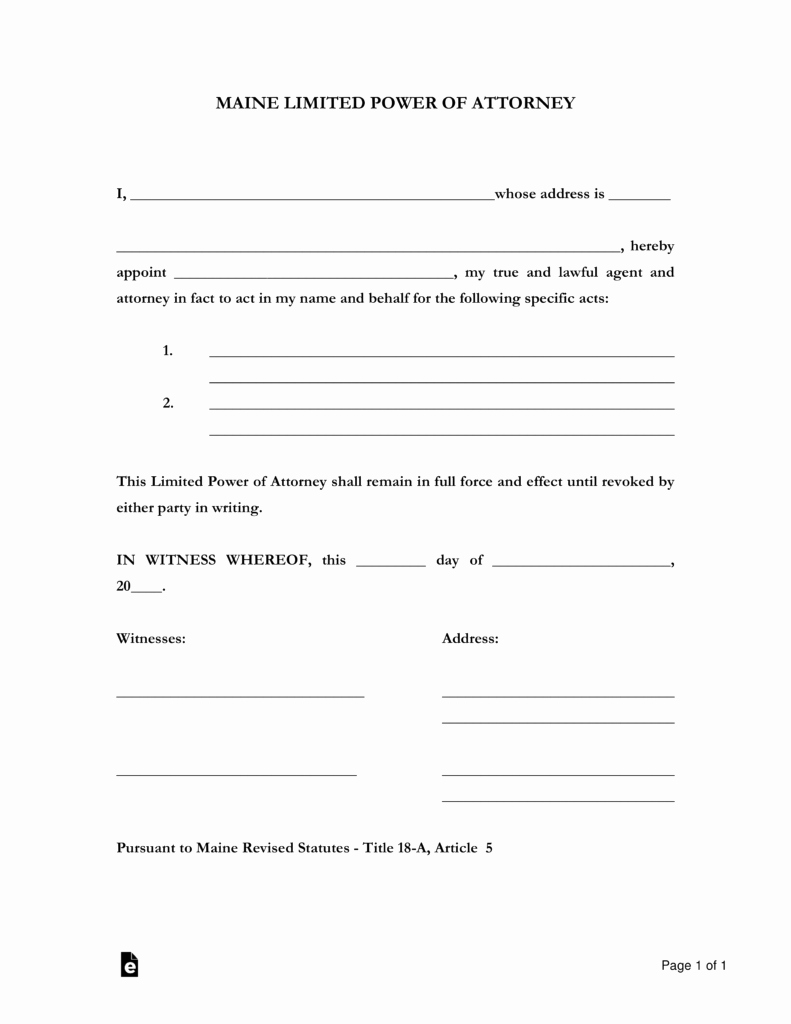 Special Power Of attorney form Awesome Free Maine Limited Power Of attorney form Pdf