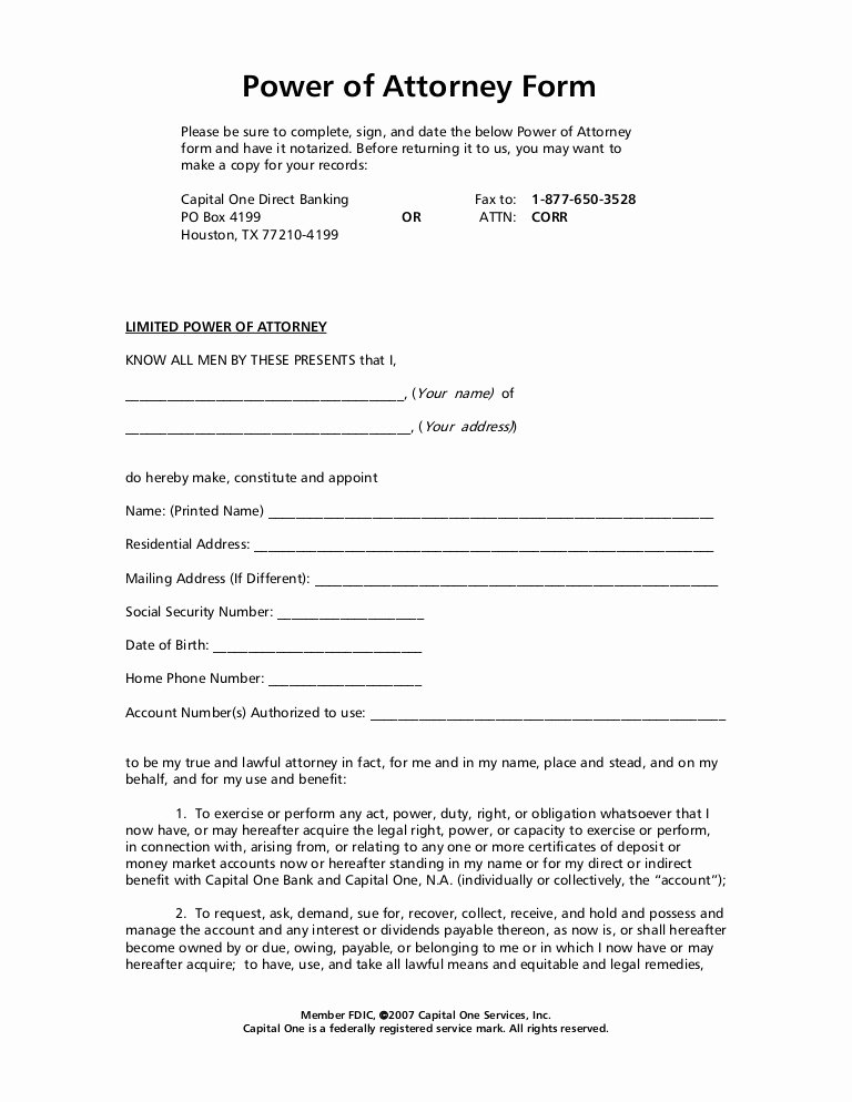 Special Power Of attorney form Awesome Power Of attorney form