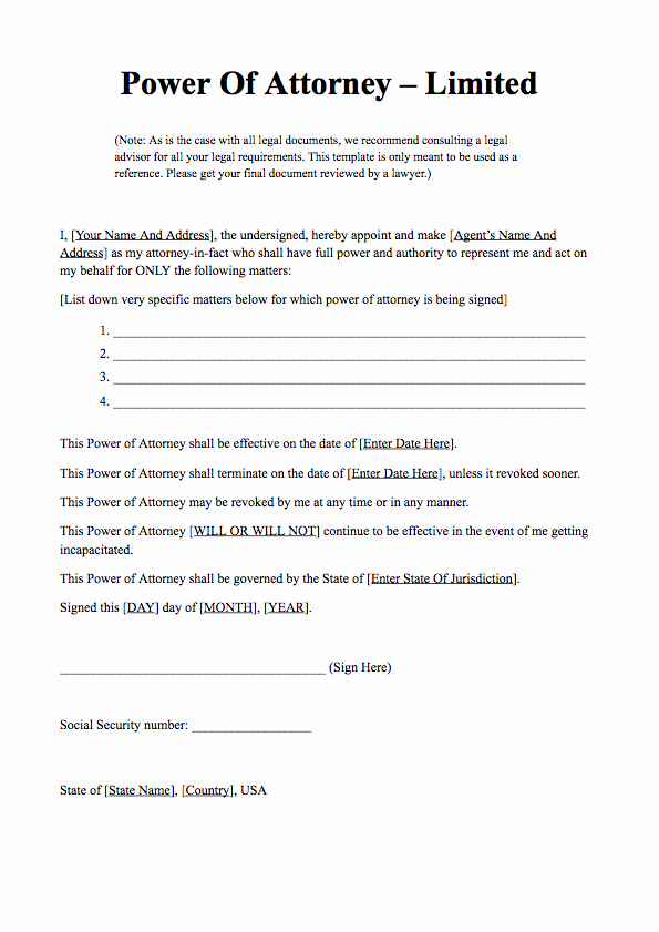 Special Power Of attorney form Beautiful Power Of attorney form Free Download