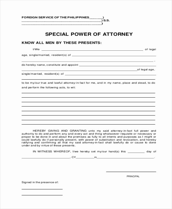 Special Power Of attorney form Elegant Free 20 Sample Power Of attorney forms In Pdf