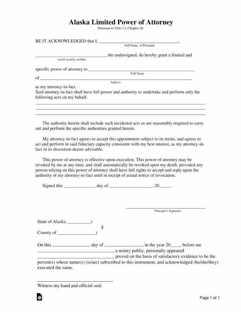 Special Power Of attorney form Elegant Free Alaska Limited Power Of attorney form Pdf
