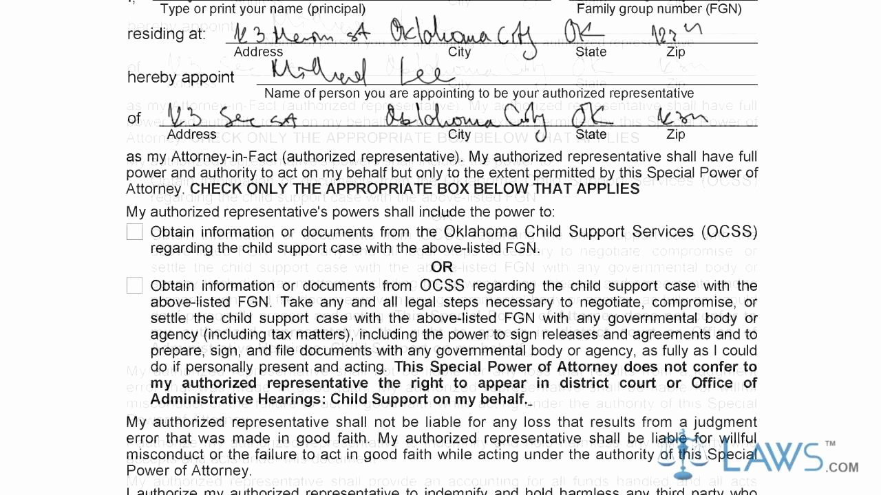 Special Power Of attorney form Elegant Instruction to Fill Oklahoma Special Power Of attorney