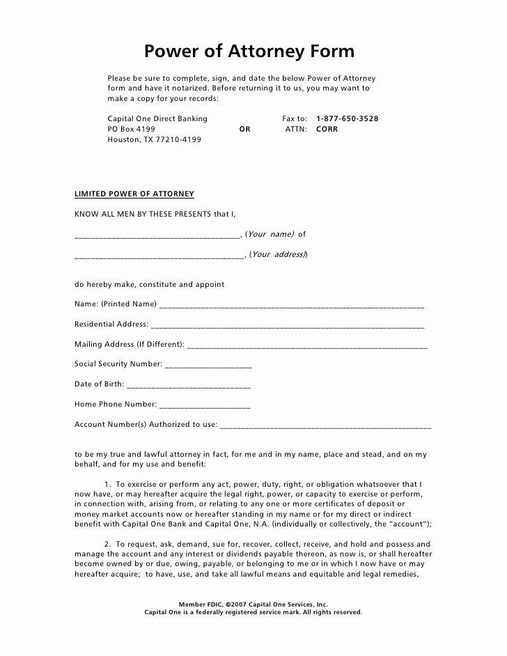 Special Power Of attorney form Elegant Power attorney Template