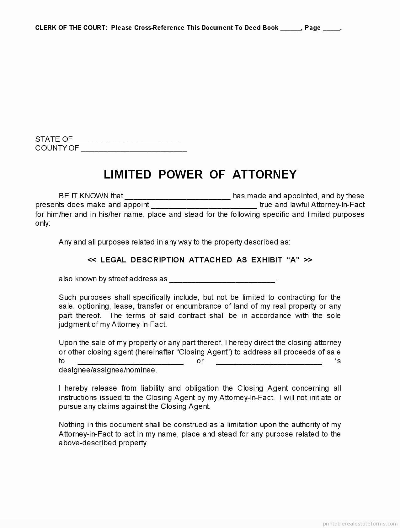 Special Power Of attorney form Fresh Free Printable Limited Power Of attorney forms [sample]