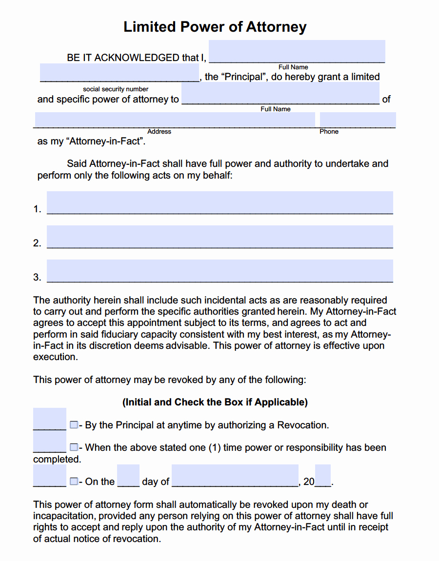 Special Power Of attorney form Fresh Limited Special Power Of attorney forms