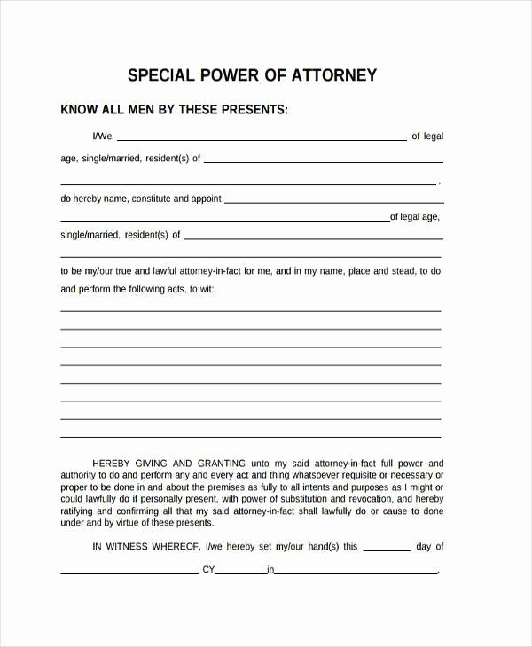 Special Power Of attorney form Lovely Free 35 Power Of attorney forms