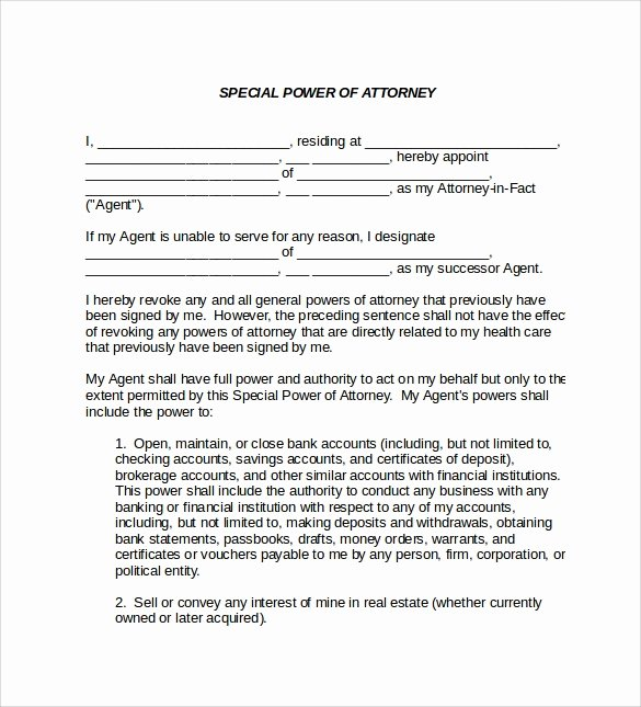Special Power Of attorney form Luxury Sample Special Power Of attorney form 8 Download Free
