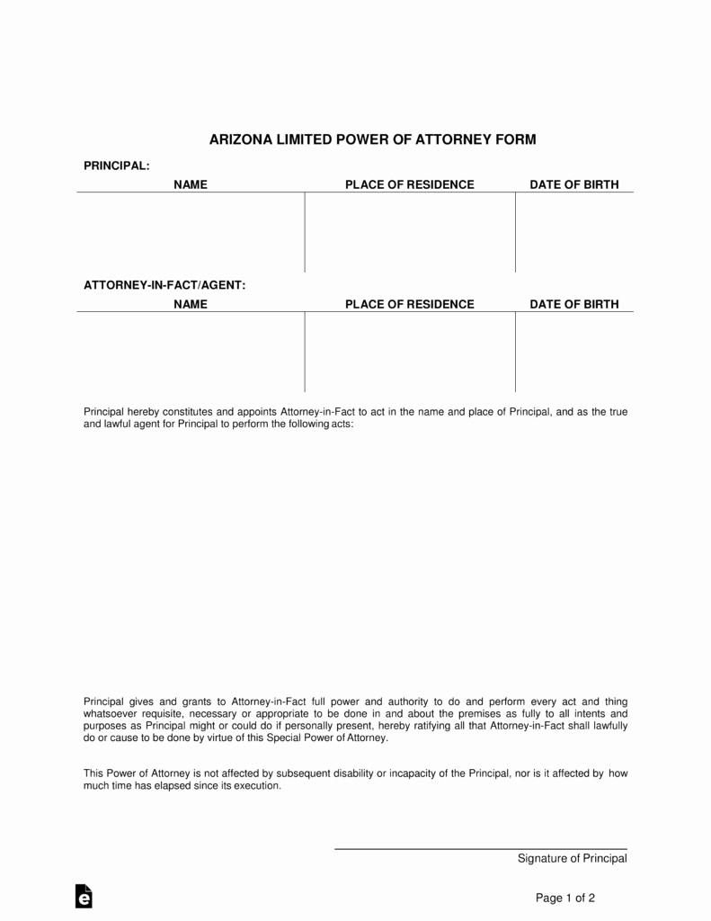 Special Power Of attorney form Unique Free Arizona Limited Power Of attorney form Pdf