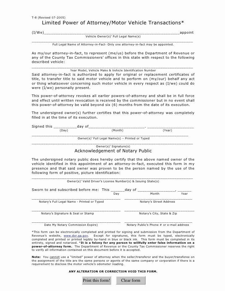 Special Power Of attorney form Unique Limited Power Of attorney Motor Vehicle Transactions