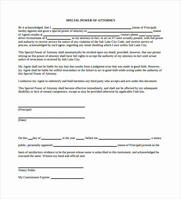 Special Power Of attorney form Unique Sample Special Power Of attorney form 8 Download Free
