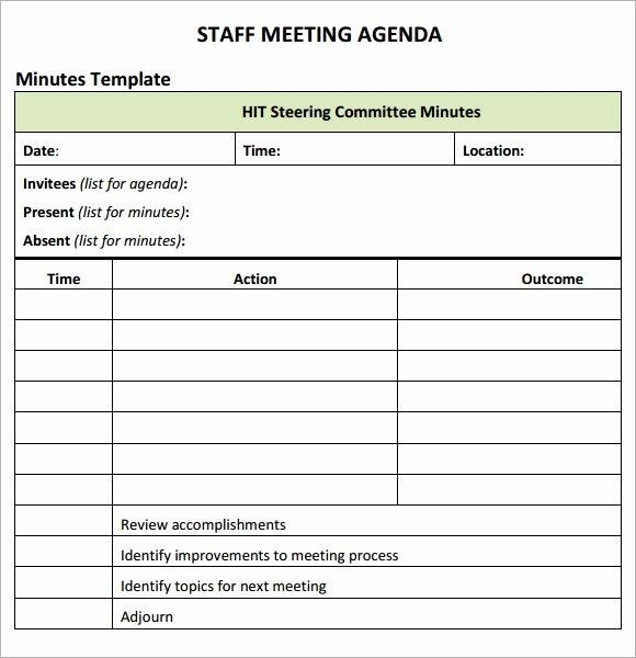 Staff Meetings Agenda Template Awesome Staff Meeting Agenda 7 Free Download for Pdf