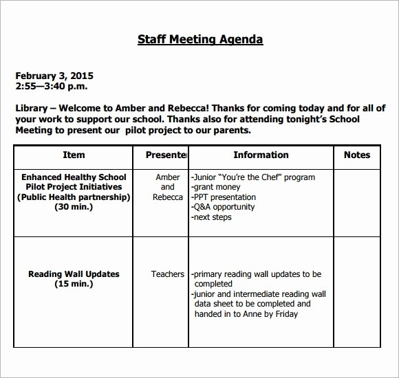 Staff Meetings Agenda Template Beautiful Sample Staff Meeting Agenda 4 Documents for Pdf