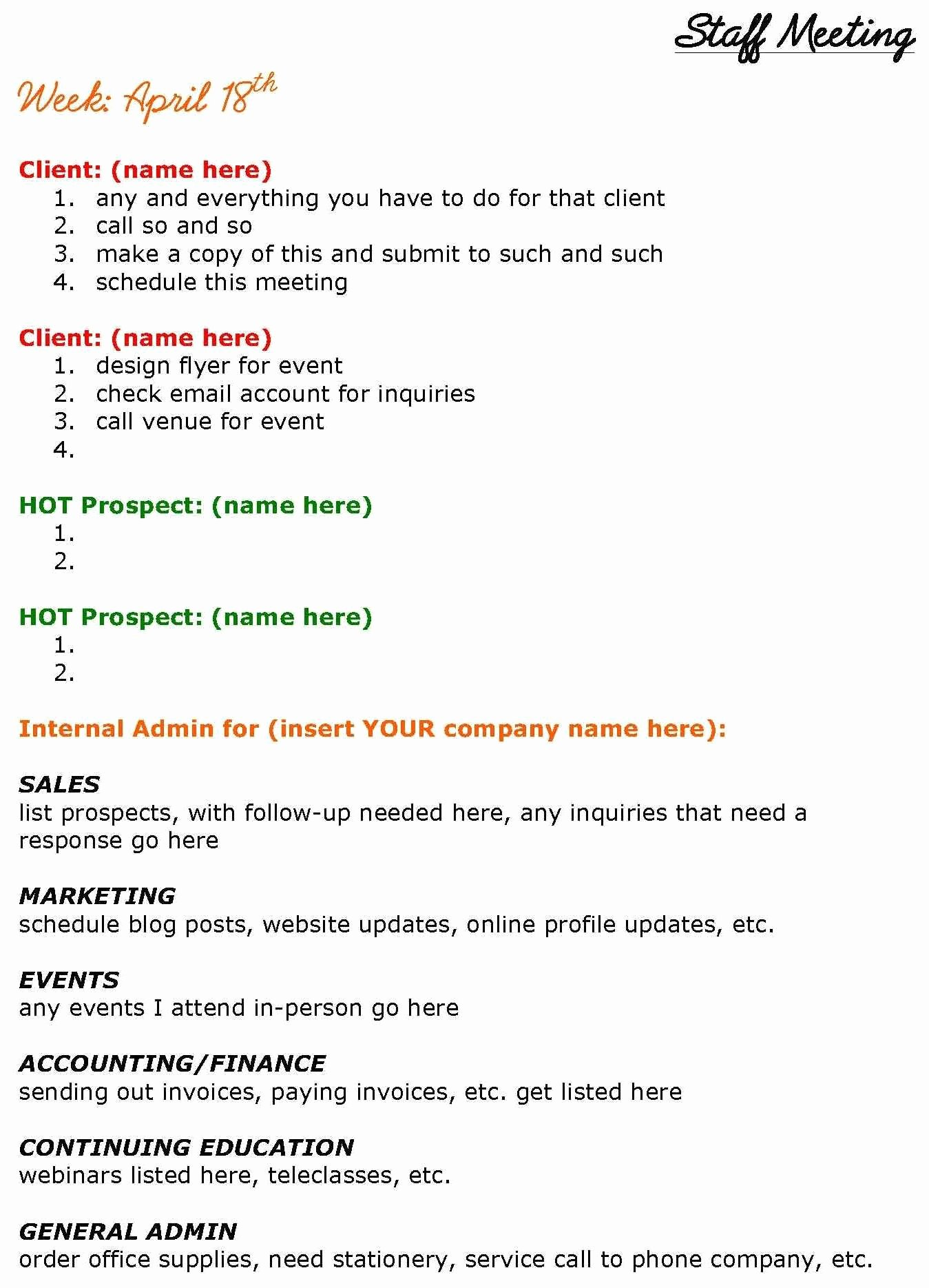 Staff Meetings Agenda Template Best Of solopreneurs Need Staff Meetings too See This Staff