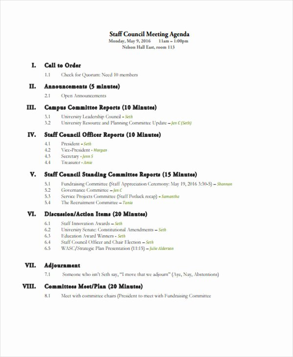 Staff Meetings Agenda Template Elegant 41 Meeting Agenda format