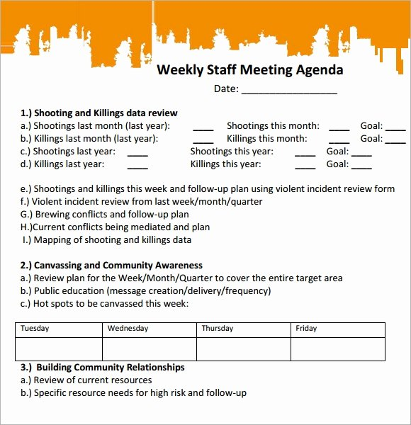 Staff Meetings Agenda Template Elegant Sample Staff Meeting Agenda 4 Documents for Pdf